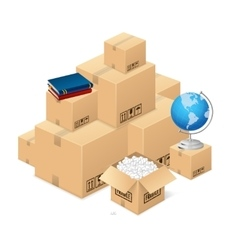 Moving concept with a pile cardboard boxes vector
