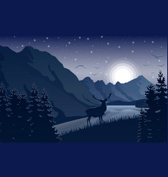 Night mountains landscape with deer stars on sky vector