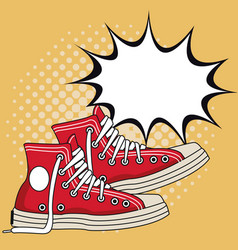 Old sneakers pop art vector