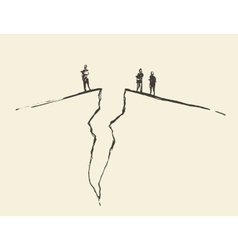 People standing cracked ground Concept vector