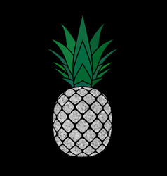 Pineapple with leaf tropical silver exotic fruit vector