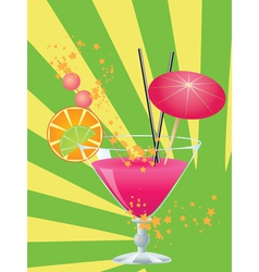 Pink cocktail with decorations vector