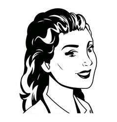portrait woman pop art black and vector image
