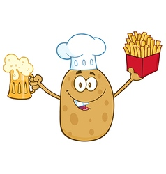 Potato Chef Cartoom Holding Fries and a Beer vector image