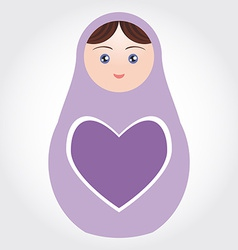 purple Russian dolls matryoshka with heart on vector image