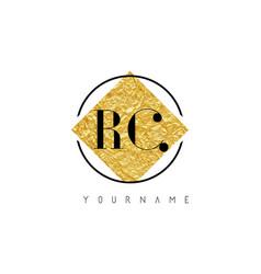 Rc letter logo with golden foil texture vector