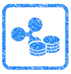 ripple coins framed stamp vector image