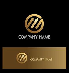 round arrow fast progress gold business logo vector image
