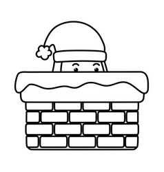 santa in chimney decoration merry christmas vector image