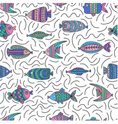 seamless pattern with cute fishes vector image