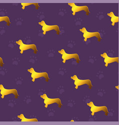 seamless pattern with yellow gold dogs breed vector image