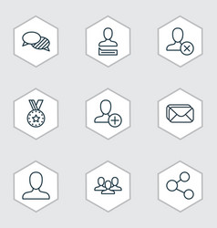 set of 9 social icons includes web profile team vector image