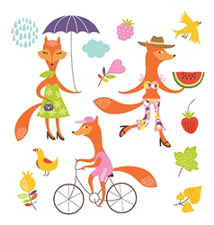 Set of a fanciful foxes vector