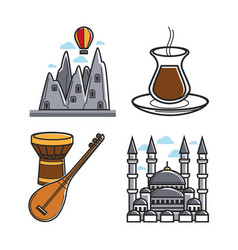 Set of architecture and instruments vector