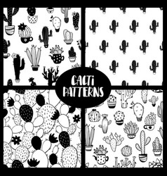 set of black and white cacti seamless patterns vector image