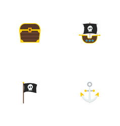 set of piracy icons flat style symbols with anchor vector image