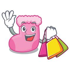 shopping sock character cartoon style vector image