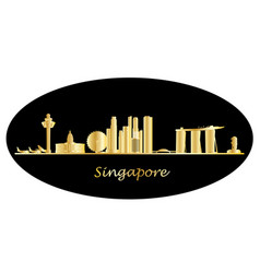 singapore city skyine gold text vector image