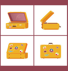 Suitcases from different angles open and closed vector