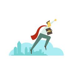 Superhero man businessman flies over the city vector