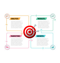 target goals business analysis growth result vector image