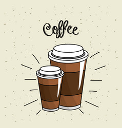 Tasty coffee drink beverage vector