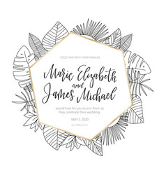 tropical wedding invitation with flower elements vector image