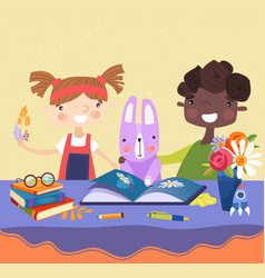 Two young kids reading a book with their rabbit vector