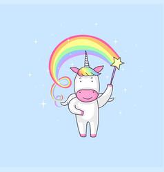 unicorn with magic stick vector image