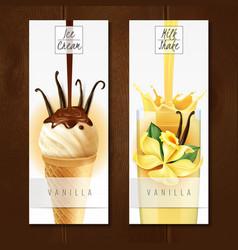 vanilla dessert realistic banners vector image