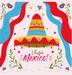 viva mexico colorful poster with mexican hat and vector image
