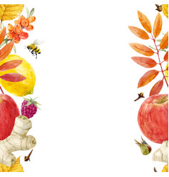 watercolor autumn floral pattern vector image