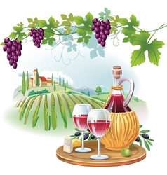 Wine glasses bottle and ripe grapes in vineyard vector image