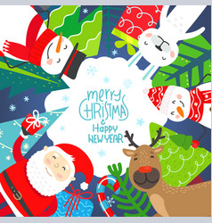 winter holidays greeting card with cute characters vector image