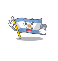 With phone flag argentina cartoon shaped vector