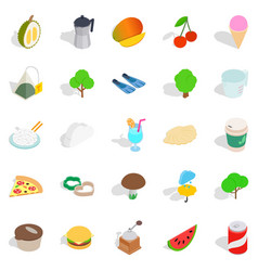 house on the farm icons set isometric style vector image