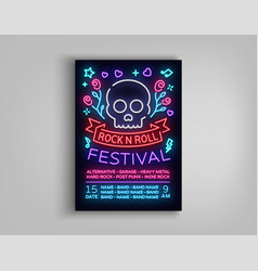 rock festival poster in neon style neon sign an vector image
