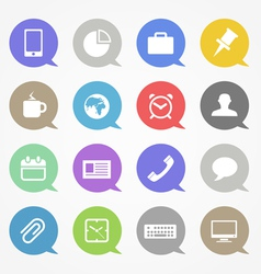 Business web icons set in color speech clouds vector image vector image