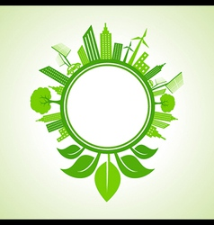 Eco cityscape with leaf around the circle vector
