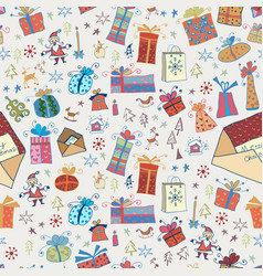 hand drawn cartoon seamless pattern with gifts vector image