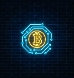 Neon bitcoin currency sign with electronic vector