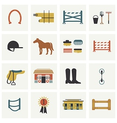 Set of horseback riding icons vector image