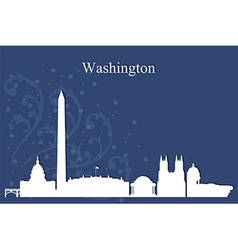 Washington city skyline on blue background vector image