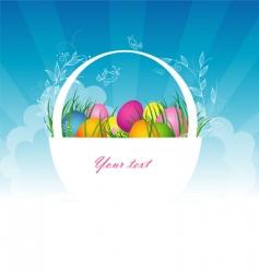 Easter egg basket vector image