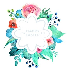 Easter watercolor natural with flower sticker vector image vector image