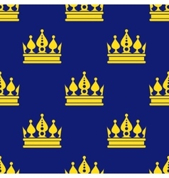 Golden crowns blue seamless pattern vector image vector image