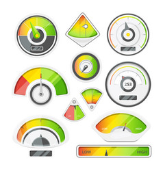 different speed indicators pictures of vector image vector image