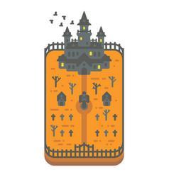 flat design haunted mansion vector image