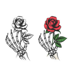 rose flower in human skeleton hand vector image vector image