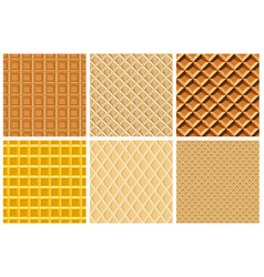 set seamless pattern with waffle texture vector image vector image